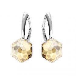 Cercei Argint 925, Cercei SWAROVSKI Hexagon Gold 10mm + CADOU Laveta profesionala pentru curatat bijuterii din argint