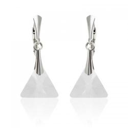 Cercei Argint 925, Cercei SWAROVSKI Triangle Crystal Clear + CADOU Laveta profesionala pentru curatat bijuteriile din argint + Cutie Cadou