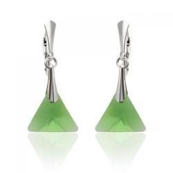 Cercei Argint 925, Cercei SWAROVSKI Triangle Dark Green + CADOU Laveta profesionala pentru curatat bijuteriile din argint + Cutie Cadou