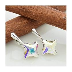 Cercei Argint 925, Cercei SWAROVSKI Twister Aurore Boreale + CADOU Laveta profesionala pentru curatat bijuteriile din argint
