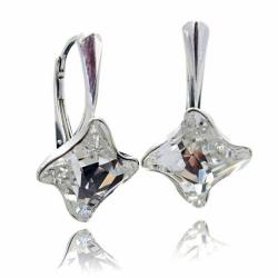 Cercei Argint 925, Cercei SWAROVSKI Twister Crystal Clear + CADOU Laveta profesionala pentru curatat bijuteriile din argint