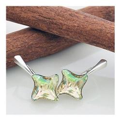 Cercei Argint 925, Cercei SWAROVSKI Twister Luminous Green + CADOU Laveta profesionala pentru curatat bijuteriile din argint