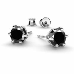 Cercei Argint 925, Cercei SWAROVSKI Zirconia Black Crystals 6mm + CADOU Laveta profesionala pentru curatat bijuteriile din argint + Cutie Cadou