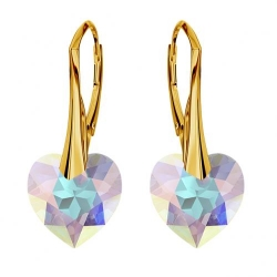 Cercei Argint 925 placati cu Aur 18k, Cerceri SWAROVKSI Crystals Heart Aurore Boreale + CADOU Laveta profesionala pentru curatat bijuteriile din argint