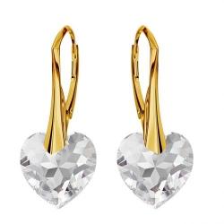 Cercei Argint 925 placati cu Aur 18k, Cerceri SWAROVKSI Crystals Heart Crystal Clear + CADOU Laveta profesionala pentru curatat bijuteriile din argint