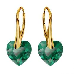 Cercei Argint 925 placati cu Aur 18k, Cerceri SWAROVKSI Crystals Heart Emerald + CADOU Laveta profesionala pentru curatat bijuteriile din argint