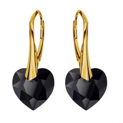 Cercei Argint 925 placati cu Aur 18k, Cerceri SWAROVKSI Crystals Heart Jet + CADOU Laveta profesionala pentru curatat bijuteriile din argint