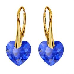 Cercei Argint 925 placati cu Aur 18k, Cerceri SWAROVKSI Crystals Heart Majestic + CADOU Laveta profesionala pentru curatat bijuteriile din argint