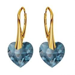 Cercei Argint 925 placati cu Aur 18k, Cerceri SWAROVKSI Crystals Heart Montana + CADOU Laveta profesionala pentru curatat bijuteriile din argint