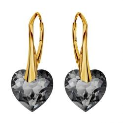 Cercei Argint 925 placati cu Aur 18k, Cerceri SWAROVKSI Crystals Heart Night + CADOU Laveta profesionala pentru curatat bijuteriile din argint