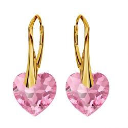 Cercei Argint 925 placati cu Aur 18k, Cerceri SWAROVKSI Crystals Heart Rose + CADOU Laveta profesionala pentru curatat bijuteriile din argint