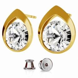 Cercei Argint 925 placati cu Aur Galben, Cercei SWAROVSKI Diamond Crystal Clear + CADOU Laveta profesionala pentru curatat bijuteriile din argint