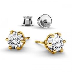 Cercei Argint 925 placati cu Aur Galben, Cercei SWAROVSKI Zirconia Crystal Clear 6mm + CADOU Laveta profesionala pentru curatat bijuteriile din argint + Cutie Cadou