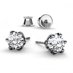 Cercei Argint 925 placati cu Rodiu Negru, Cercei SWAROVSKI Zirconia Crystal Clear 6mm + CADOU Laveta profesionala pentru curatat bijuteriile din argint + Cutie Cadou