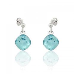 Cercei Argint, Cercei SWAROVSKI Brilliant Light Turquoise (M2) + CADOU Laveta profesionala pentru curatat bijuteriile din argint + Cutie Cadou