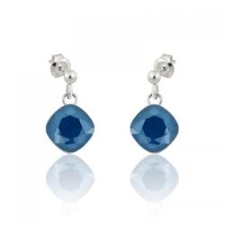 Cercei Argint, Cercei SWAROVSKI Brilliant Royal Blue (M2) + CADOU Laveta profesionala pentru curatat bijuteriile din argint + Cutie Cadou
