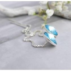 Cercei Argint cu lantisor, Cercei SWAROVSKI Crystals Grace Aquamarine 8mm + CADOU Laveta profesionala pentru curatat bijuteriile din argint