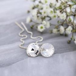 Cercei Argint cu lantisor, Cercei SWAROVSKI Crystals Grace Clear 8mm + CADOU Laveta profesionala pentru curatat bijuteriile din argint