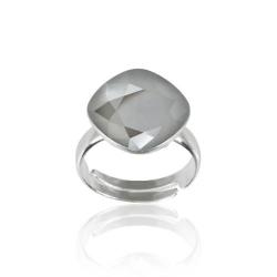 Inel Argint 925, Inel SWAROVSKI Brilliant Dark Grey 12mm + CADOU Laveta profesionala pentru curatat bijuteriile din argint + Cutie Cadou
