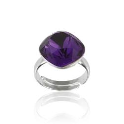 Inel Argint 925, Inel SWAROVSKI Brilliant Purple Velvet 12mm + CADOU Laveta profesionala pentru curatat bijuteriile din argint + Cutie Cadou