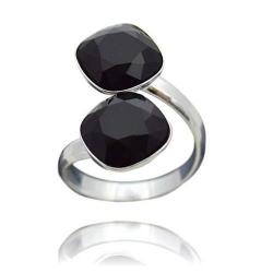 Inel Argint 925, Inel SWAROVSKI Crystals Brilliant (2) Black + CADOU Laveta profesionala pentru curatat bijuteriile din argint