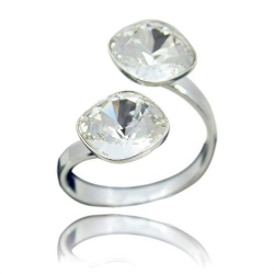 Inel Argint 925, Inel SWAROVSKI Crystals Brilliant (2) Clear + CADOU Laveta profesionala pentru curatat bijuteriile din argint