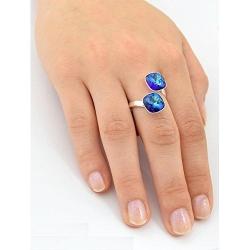 Inel Argint 925, Inel SWAROVSKI Crystals Brilliant (2) Electric Blue + CADOU Laveta profesionala pentru curatat bijuteriile din argint