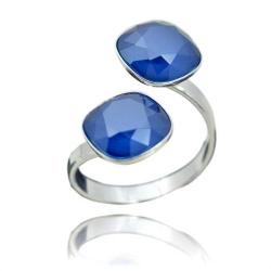 Inel Argint 925, Inel SWAROVSKI Crystals Brilliant (2) Royal Blue + CADOU Laveta profesionala pentru curatat bijuteriile din argint