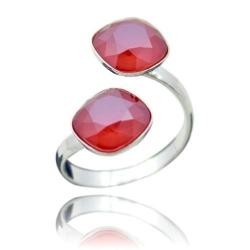 Inel Argint 925, Inel SWAROVSKI Crystals Brilliant (2) Royal Red + CADOU Laveta profesionala pentru curatat bijuteriile din argint