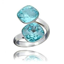 Inel Argint 925, Inel SWAROVSKI Crystals Brilliant (2) Turquoise + CADOU Laveta profesionala pentru curatat bijuteriile din argint