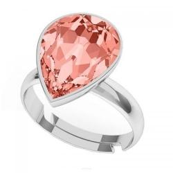 Inel Argint 925, Inel SWAROVSKI Crystals Glamour Rose Peach + CADOU Laveta profesionala pentru curatat bijuteriile din argint