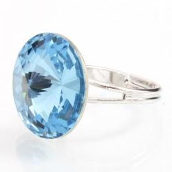 Inel Argint 925, Inel SWAROVSKI Crystals Grace Aquamarine 18mm + CADOU Laveta profesionala pentru curatat bijuteriile din argint + Cutie Cadou
