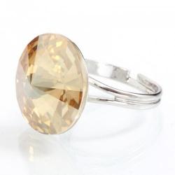 Inel Argint 925, Inel SWAROVSKI Crystals Grace Gold 18mm + CADOU Laveta profesionala pentru curatat bijuteriile din argint + Cutie Cadou