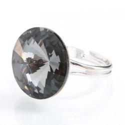 Inel Argint 925, Inel SWAROVSKI Crystals Grace Night 18mm + CADOU Laveta profesionala pentru curatat bijuteriile din argint + Cutie Cadou