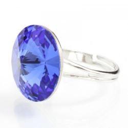Inel Argint 925, Inel SWAROVSKI Crystals Grace Sapphire 18mm + CADOU Laveta profesionala pentru curatat bijuteriile din argint + Cutie Cadou