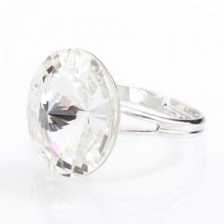 Inel Argint 925, Inel SWAROVSKI Grace Crystal Clear 18mm + CADOU Laveta profesionala pentru curatat bijuteriile din argint + Cutie Cadou