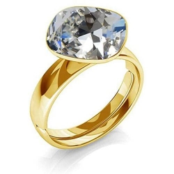 Inel Argint 925 placat cu Aur 24k, Inel SWAROVSKI Brilliant Crystal Clear + CADOU Laveta profesionala pentru curatat bijuteriile din argint