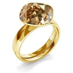 Inel Argint 925 placat cu Aur 24k, Inel SWAROVSKI Brilliant Gold + CADOU Laveta profesionala pentru curatat bijuteriile din argint
