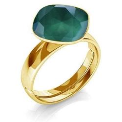 Inel Argint 925 placat cu Aur 24k, Inel SWAROVSKI Brilliant Royal Green + CADOU Laveta profesionala pentru curatat bijuteriile din argint