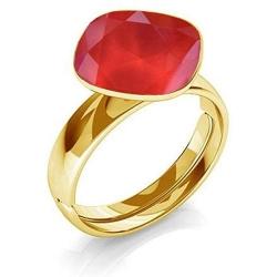 Inel Argint 925 placat cu Aur 24k, Inel SWAROVSKI Brilliant Royal Red + CADOU Laveta profesionala pentru curatat bijuteriile din argint