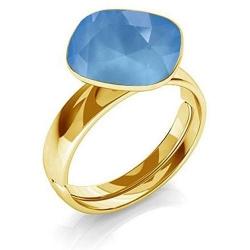 Inel Argint 925 placat cu Aur 24k, Inel SWAROVSKI Brilliant Summer Blue + CADOU Laveta profesionala pentru curatat bijuteriile din argint