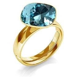 Inel Argint 925 placat cu Aur 24k, Inel SWAROVSKI Brilliant Turquoise + CADOU Laveta profesionala pentru curatat bijuteriile din argint