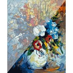 Pictura pe numere 40x50 cm - Panza din bumbac pe rama de lemn - Buchet de flori (15) (PDP-549)