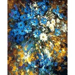 Pictura pe numere 40x50 cm - Panza din bumbac pe rama de lemn - Buchet de flori (8) (PDP-532)