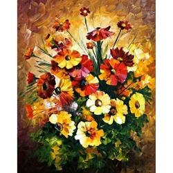 Pictura pe numere 40x50 cm - Panza din bumbac pe rama de lemn - Buchet de flori (PDP-423)