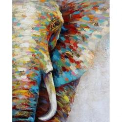 Pictura pe numere 40x50 cm - Panza din bumbac pe rama de lemn - Elefantul colorat (2) (PDP-855)