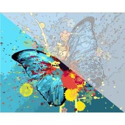 Pictura pe numere 40x50 cm - Panza din bumbac pe rama de lemn - Fantasy Butterfly (PDP-832)