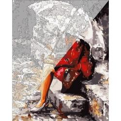 Pictura pe numere 40x50 cm - Panza din bumbac pe rama de lemn - In ploaie (PDP-625)