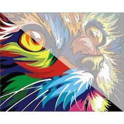 Pictura pe numere 40x50 cm - Panza din bumbac pe rama de lemn - Motanul colorat (PDP-849)