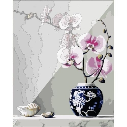 Pictura pe numere 40x50 cm - Panza din bumbac pe rama de lemn - Orhideea (PDP-558)